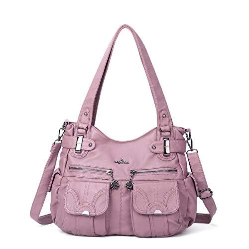 Schultertasche Handtasche (angel kiss Hobo Tasche Schultertaschen Handtaschen Umhängetaschen Henkeltaschen Fredsbruder Taschen Damen Weiches Leder (5739-1-Rosa))