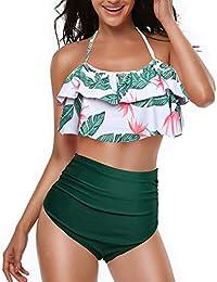 69d560e4db858 TEERFU Womens Swimwear High Waisted Padded Halter Beach Bathing Suits  Bikini Set