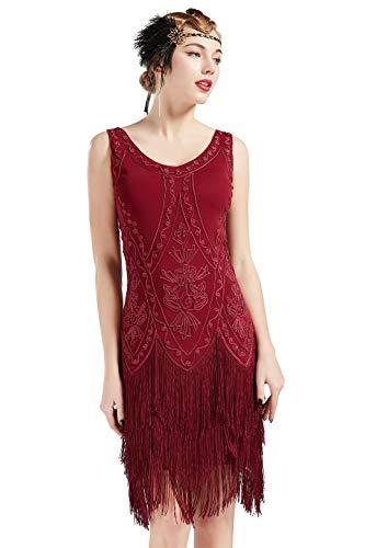 Coucoland 1920s Kleid Damen Flapper Kleid ohne Ärmel V Ausschnitt Knielang Charleston Kleid Gatsby Motto Party Damen Fasching Kostüm Kleid (Weinrot, S) (Damen 1920's Kostüm)