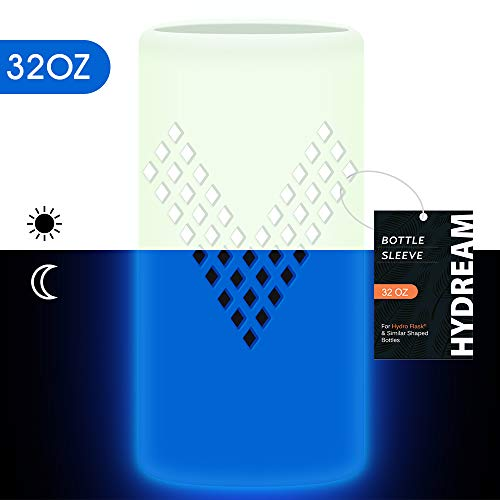 Hydream Botella Funda de Silicona para de Acero Inoxidable Hydro Flask  30OZ/40OZ Manga de Botella (Glow Blue, 32 OZ)