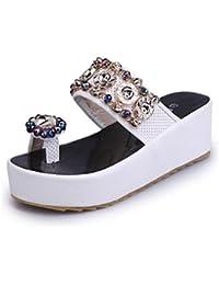 Damen Low Wedge Flip Flop Damen Strand Kristall Sandalen Schuhe Größe 35-40 ( Color : Weiß , Größe : 37 )