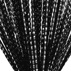 Lewondr Cortina de Hilos de Cuerda Plata, Brillante de Hilo Plateado Cortina de persianas de Ventana, Cortina de Remache Decorativas Ventana para Boda Sala Habitación 39x79 Inch(100x200 cm) - Negro