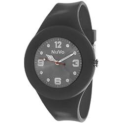Nuvo - NU13H16 - Unisey Armbanduhr vom Armband abtrennbar - Schwarzes Zifferblatt - Schwarzes austauschbares Armband aus Silikon - Modisch - Elegant - Stylish