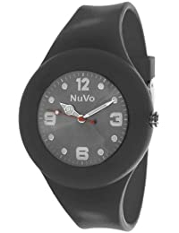 NuVo - NU13H16 - Montre Mixte détachable du bracelet  - Cadran Noir - Bracelet Silicone Noir changeable