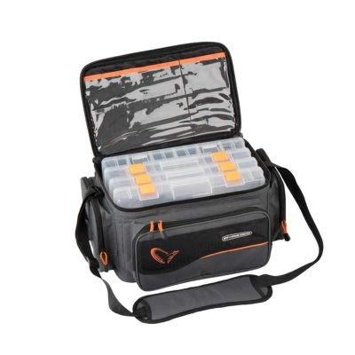 Savage Gear System Box Bag M (20x40x29cm) Ködertasche inkl. 3 Köderboxen & Ziplock Bags, Angeltasche zum Spinnangeln, Tasche für Angelköder, Anglertasche zum Spinnangeln inkl. Angelboxen