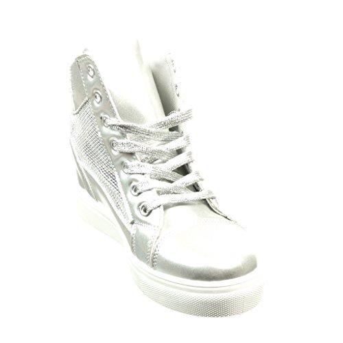 Angkorly Scarpe Moda Sneaker Zeppa Donna Strass Verniciato Lucide Tacco Zeppa 6.5 cm Argento
