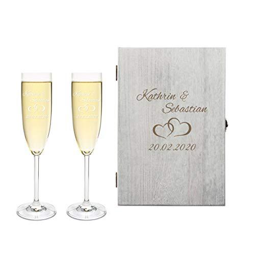 2 Leonardo Sektgläser mit Vintage Geschenkbox und Gravur Paar zur Hochzeit Geschenkidee Sekt-Gläser graviert