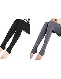 Vertvie Set Femme Leggings Chaud en Polaire Slim Opaque Collant Épais  Doublure Fleece Extensible Hiver 544e867267d4