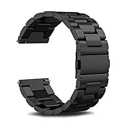 Gear S3 Frontier Band Gear S3 Classic Band, Infiland Stainless Steel Metal Replacement Strap Wrist Band For Samsung Gear S3 Frontier Gear S3 Classic (Not Fit Gear S2 & S2 Classic),black