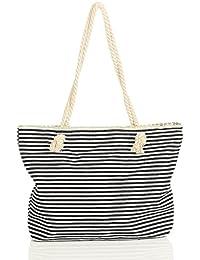 malito Damen Handtasche | gestreifte Strandtasche | Schultertasche mit Aufdruck | Henkeltasche - Schultasche T300