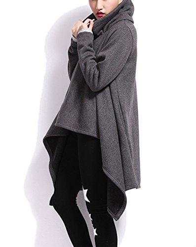 LATH.pIN femme coupe cascade transition veste manteau coupe trench automne cape irrégulière sweat-shirt à capuche homme Gris