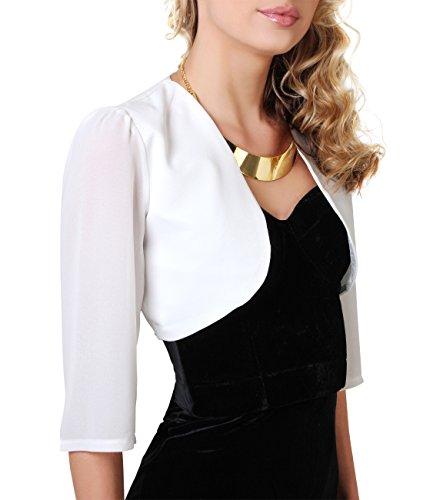KRISP Damen Festlicher Bolero Elegante Schulterjacke Kurze Jacke Cropped Top 3/4 Ärmel Weiß (4421)