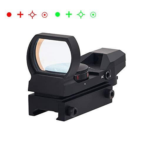 FOCUHUNTER Taktisch Red Green Dot Visier 4 Reticles Rotpunktvisier Luft Zielfernrohr mit 20mm Schiene Leuchtpunktvisier für Die Jagd im Freien (Schwarz)