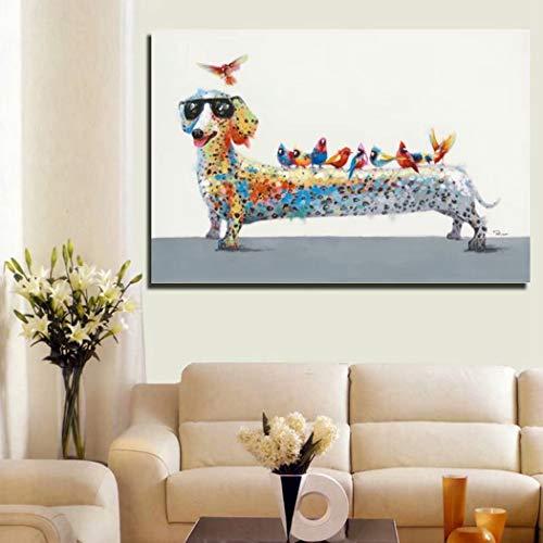 XIAOXINYUAN 100% Pintado A Mano Pintura Al Óleo Animales De Dibujos Animados...