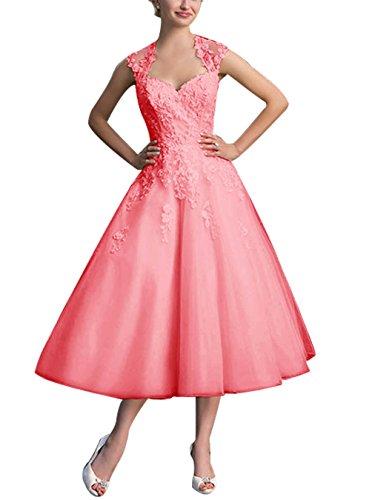 Find Dress Elégant Robe Vintage d'Audrey Hepburn Année 50s Rockabilly Swing pour fête Noel Noble Robe de Gala Soirée Grande Taille pour Femme Ronde Dentelle Qualité Corail