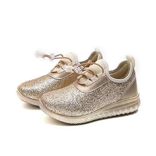 GongzhuMM Sneakers Mixte Enfant, Chaussures Bébé Paillettes Argent Or, Baskets Bébé 2 Ans-8 Ans