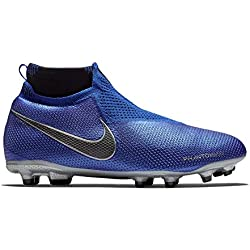 Nike Jr. Phantom Vision Elite Dynamic Fit MG Bota de fútbol Multi Ground Child 38 - Botas de fútbol (Multi Ground, Child, Masculino, Suela con Tacos, Negro, Azul, Plata, Monótono)