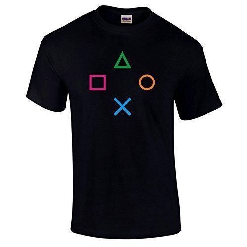 L/s Spieler (Gildan Playstation PS2PS3PS4Controller für Spiele Spieler Computerspiel Shirt Wahl von Farben S-5X L Schwarz Schwarz 5XL/62 (157,4 cm))