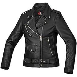 Bohmberg Premium Chaqueta de cuero atractiva para mujer - Cuero 100% real-para motociclistas-cuero pesado - L