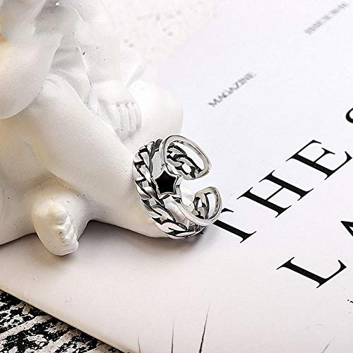 Damen 925 Sterling Silber Verstellbar Ringe,Punk Thai Silver Double Layer Chian Verstellbare Ringe Alten 925Er Sterling Silber Index Finger Ringe Für Frauen Große Paar