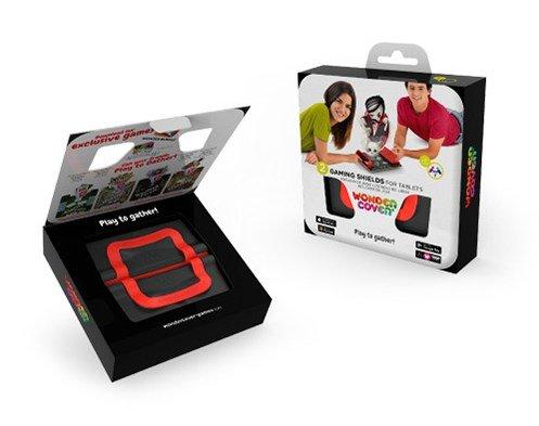 Preisvergleich Produktbild QuackDuck WonderCover Gaming Shields Vulcano Spielabdeckung für Tablets und Handys + 5 Magnética Spiele-Apps, ideal für unterwegs, 2er Set (schwarz/rot) + Theme Stickers