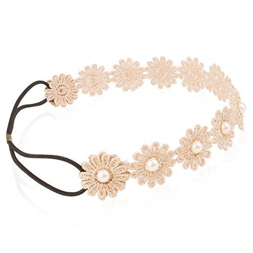 klassische Lace Flower Stirnband Beige Chrysantheme mit Gold Line und Pearl für Festival Hochzeit (Stirnband Klassisches)