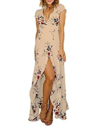 DianShao Mujer Elegante V Cuello Manga Corta Irregular Floral Vestido Beach Marrón M