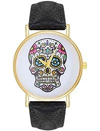 Damenuhr Candy Sugar Skull Tattoo Totenschädel Schädel Ghost Head Watch Damen Uhr Armbanduhr Pirat Skulls Totenkopf Anker Quarz - Schwarz Gold