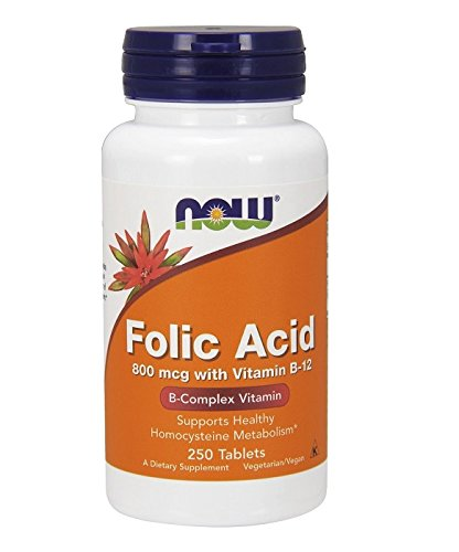 Folic acid 800 mcg - 250 comprimés - Now foods