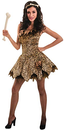 Brandsseller Damen Kostüm Steinzeit-Frau Leoparden-Dress Party Junggesellinnenabschied Verkleidung S/M (Damen Junggesellinnenabschied Kostüm)