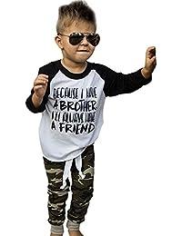YanHoo Ropa para niños Ropa Linda Carta de los niños Camiseta de Traje de Camuflaje Porque