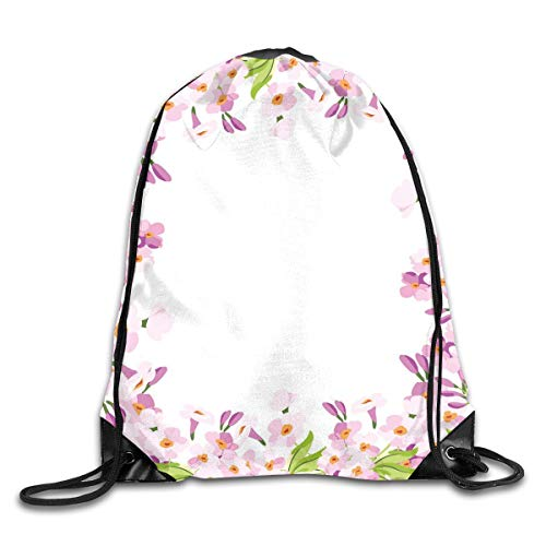 EELKKO Drawstring Backpack Gym Bags Storage Backpack, Floral Frame with Pink Meadow Flowers In Spring Foliage Blooms Nature Ornate,Deluxe Bundle Backpack Outdoor Sports Portable Daypack