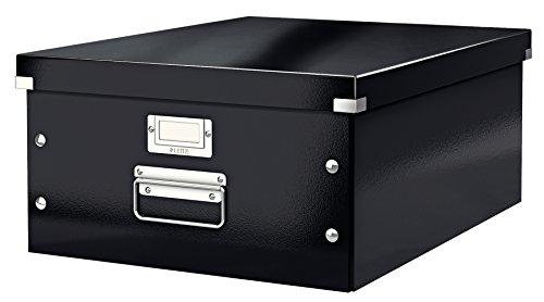 Leitz, Große Aufbewahrungs- und Transportbox, Schwarz, Mit Deckel, Für A3, Click & Store, 60450095