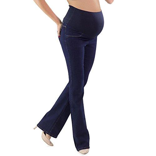 Mamajeans jeans premaman a zampa di elefante scuro, lavaggio basic super comodo - made in italy (42 it, denim)
