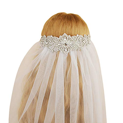 Babysbreath17 Brautschleier Brautkristall ElegantP Partei Elfenbein-weiße Lange Romantische Frauen-Hauptzusätze -