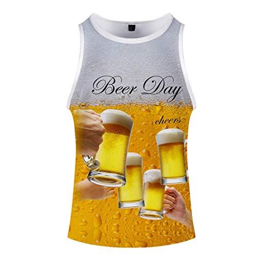 Xmiral T-Shirt Bier 3D Gedruckte Rundkragen Kurzarm/Bluse Tops für Oktoberfest Tanktop Kurzarmshirt Oberteile(b Gelb,L) Mustangs Wc