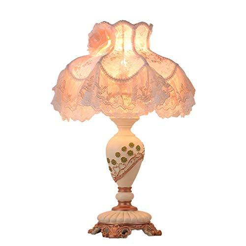 JCXT Europäische Tischlampe Nachttischlampe Handgefertigte Spitze Stoff Beige Lampenschirm Viktorianischen Stil Harz Lampen-Körper-Lampe Schlafzimmer Lampe (Größe : Button Switch) -