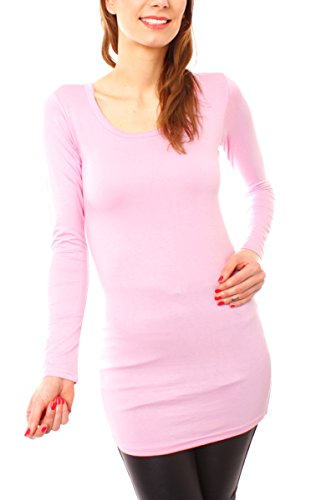 Easy Young Fashion Damen Langarm Basic Longshirt Rundhals Uni Rosa