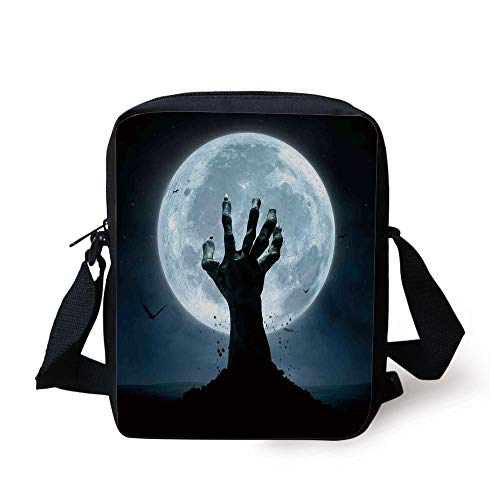 LULABE Halloween Decorations,Zombie Earth Soil Full Moon Bat Horror Story October Twilight Themed,Blue Black Print Kids Crossbody Messenger Bag ()