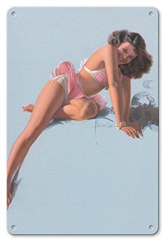 Pacifica Island Art 22cm x 30cm Vintage Metallschild - Sehen Uns Bald - Modell Juwel Blumen - Berühmte Brown & Bigelow Pin Up-Kalender Glamour-Girl von Rolf Armstrong c.1940s (Vintage Pin-up-kalender)