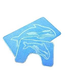 Light Blue/ Sky Blue Dolphin Bath Mat & Pedastal Mat Set 2 piece Non Slip
