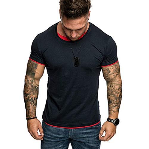 JKLEUTRW Herren Shirt, Outdoor Männer Einfarbig Gefälschte Zwei Kurzarm T-Shirt Bluse Top Hemden Shirts ()