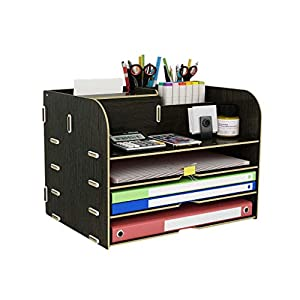 ZHAO ZHANQIANG Office Supplies Desktop File Storage Box Rack A4 Paper Book Stand Box Finishing Rack Drawer Carton, (Color : QT44)   11