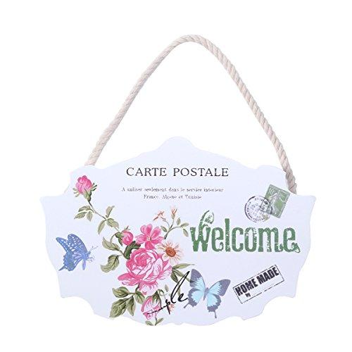 VORCOOL Willkommensschild ButterflyVintage Türschild Plaque Holz hängende Tür Schild für Home Cafe Shop Shop Decor (Cafe-türen)