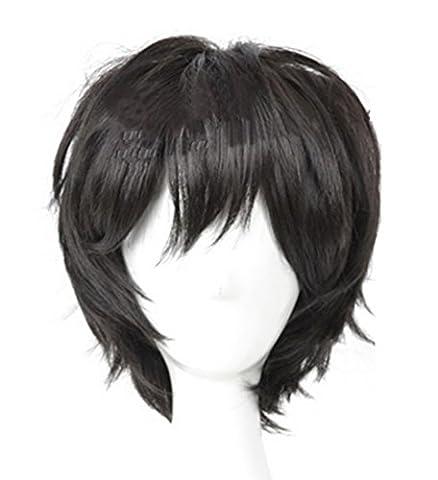 Xcoser Hiro Cosplay Costume Wig Hamada Perruque Noire Courte Accessoires Cheveux pour Les Hommes