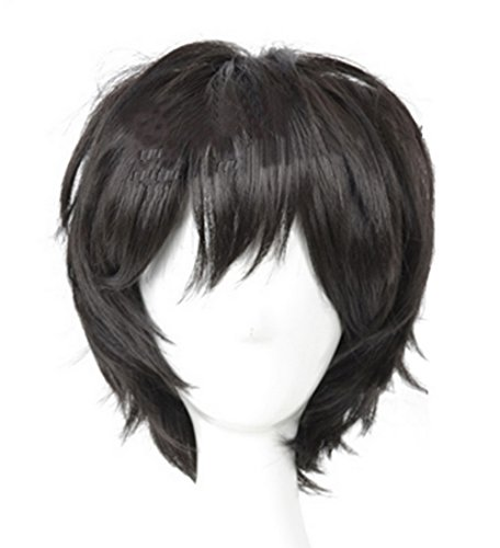 Xcoser Hiro Cosplay Kostüm Hamada Perücke Kurzes Schwarzes Haar Zubehör für Männer (Big Hero 6 Figur Kostüme)