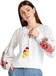 Iconic Women's 2091078 SS24CUTWRKTP Woven Body Blouse, Ye