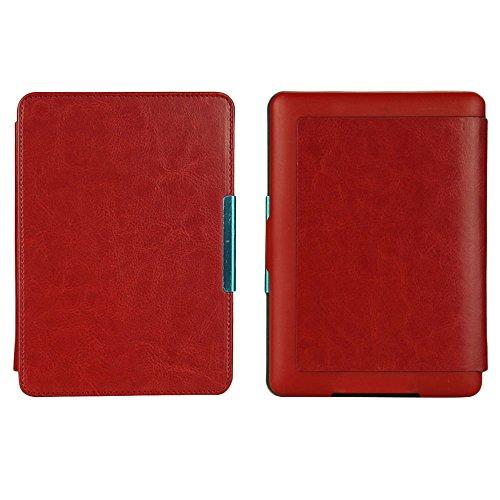 Auntwhale Schlankes PU Leder intelligentes E Buch Kasten Abdeckungs Hand für Kindle Paperwhite 1/2/3 Rot (Kindle-buch-kasten-abdeckung)