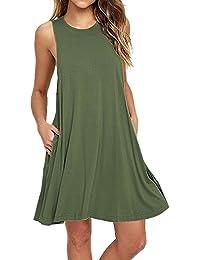 V-toto Vestidos de Mujer, Vestido de camiseta, sin Manga Traje de Baño Para Mujer Verano Moda Vestido de Playa, Colores Lisos, Talla Grande