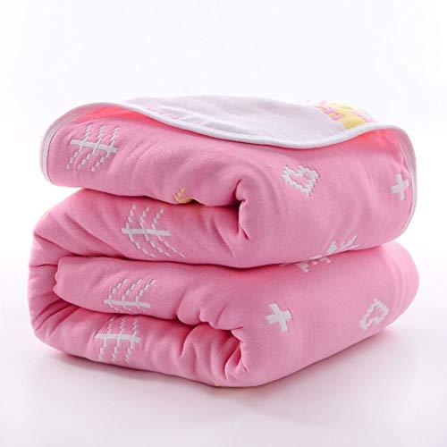 Serviette de bain bébé coton six couches gaze serviette nouveau-né bébé absorbant doux serviette de plage 110 * 110 cm (Couleur : Small deer powder)